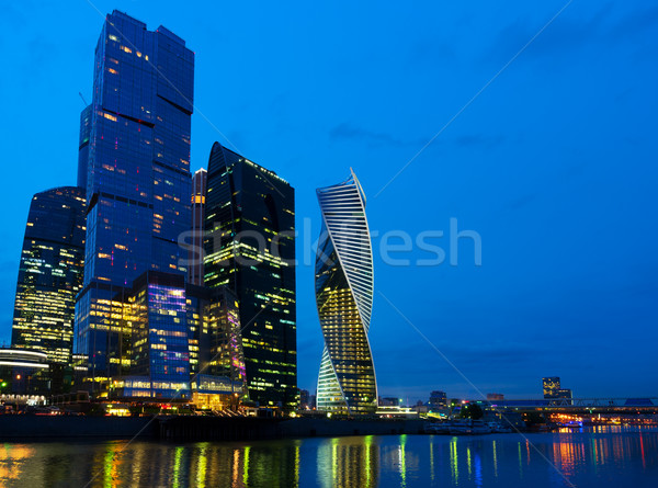 Foto stock: Moscou · noite · da · cidade · cidade · rio · água · azul