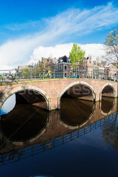 Huizen Nederland kanaal mooie hemel Stockfoto © neirfy
