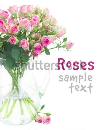 Buket küçük pembe güller vazo Stok fotoğraf © neirfy