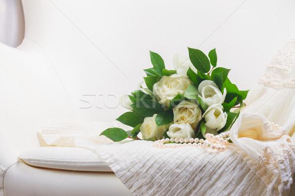розовый оранжевый роз кружево белый свежие Сток-фото © neirfy