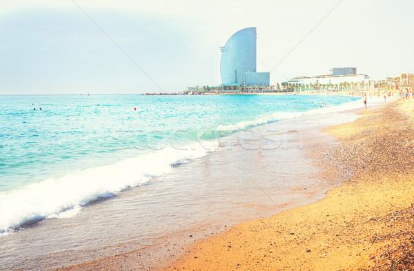 Playa mediterráneo mar luz del sol agua edificio Foto stock © neirfy