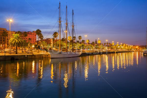 Kikötő Barcelona éjszaka Spanyolország víz város Stock fotó © neirfy