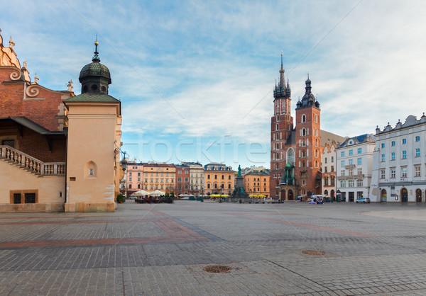 Mercado cuadrados cracovia Polonia catedral cielo Foto stock © neirfy