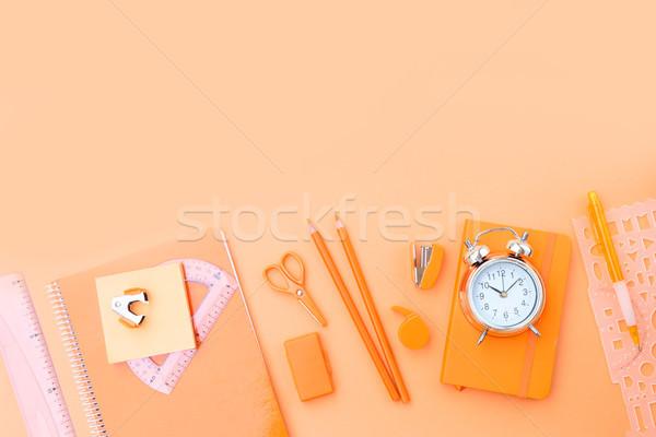 Vissza az iskolába keret tarka tanszerek narancs iskola Stock fotó © neirfy