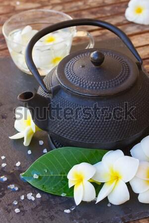 Foto d'archivio: Asian · tè · spa · set · isolato · bianco