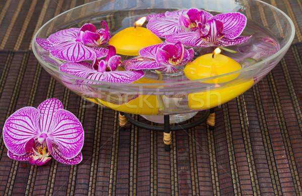 Stockfoto: Ingesteld · spa · kaarsen · bloemen · therapie · orchidee