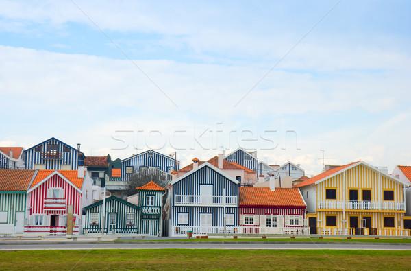 street in  Costa Nova, Aveiro, Portugal Stock photo © neirfy