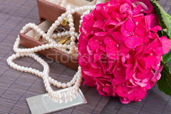 pink hortensia flowers and jawel box Stock photo © neirfy