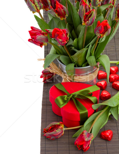 tulip flowers in pot with heart gift box Stock photo © neirfy