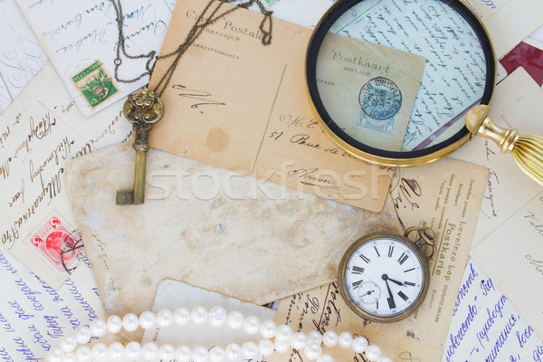 old mail  with  old clock, key and loupe Stock photo © neirfy