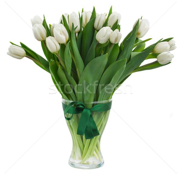 Ramo blanco tulipanes jarrón vidrio aislado Foto stock © neirfy