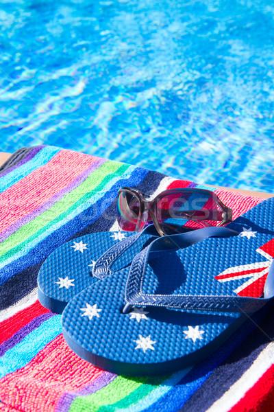 Törölköző szandál medence hideg kék víz Stock fotó © neirfy