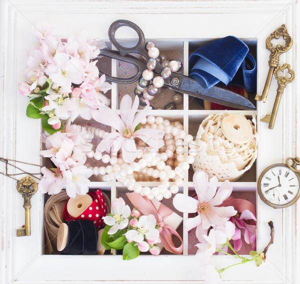 Haft vintage świeże kwiaty perła Zdjęcia stock © neirfy