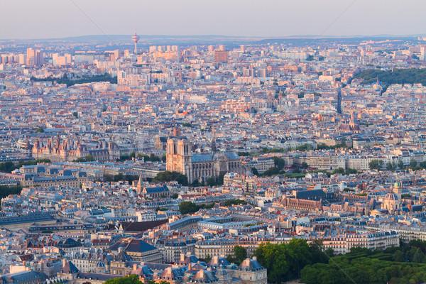 Kilátás Párizs Notre Dame-katedrális Franciaország égbolt tavasz Stock fotó © neirfy