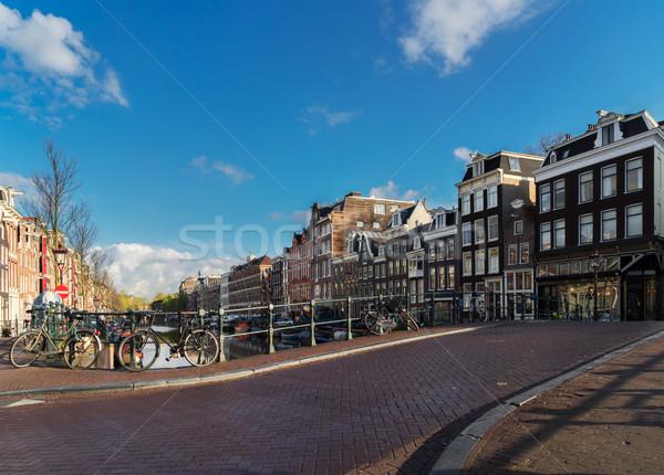 Häuser Niederlande Straße Altstadt Frühling Sommer Stock foto © neirfy