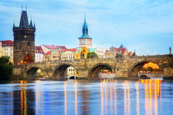 Híd szürkület Prága Csehország égbolt város Stock fotó © neirfy