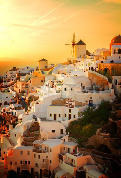 Stock fotó: Szélmalom · naplemente · Santorini · rózsaszín · narancs · retro
