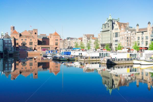 Házak Amszterdam Hollandia csatorna tipikus holland Stock fotó © neirfy