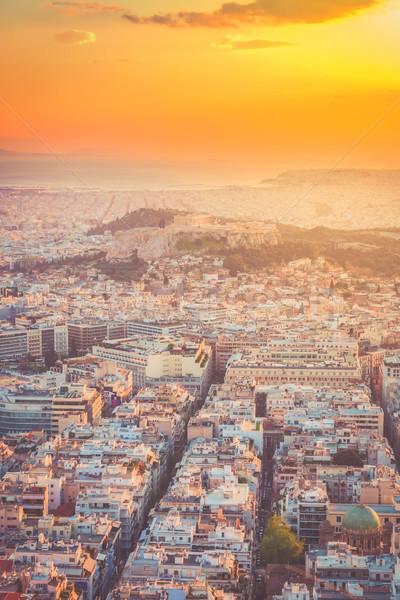 Paisaje urbano Atenas noche Grecia colina mar Foto stock © neirfy