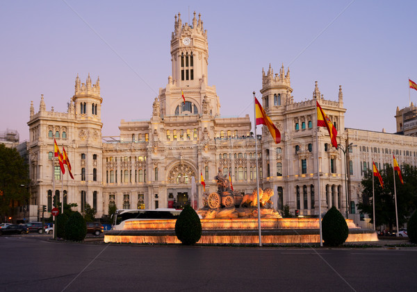 Gece Madrid İspanya çeşme saray iletişim Stok fotoğraf © neirfy