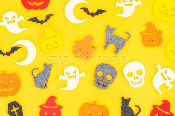Halloween escena naranja superior vista patrón Foto stock © neirfy
