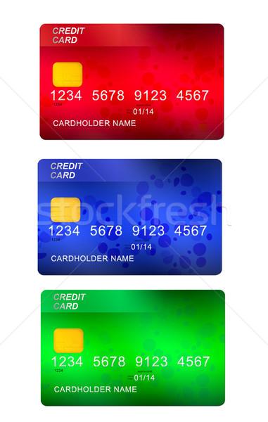 Ayarlamak üç kredi kartları yalıtılmış beyaz iş Stok fotoğraf © neirfy