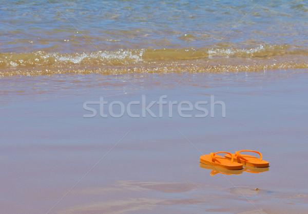 Papucs tenger part narancs kék forró Stock fotó © neirfy