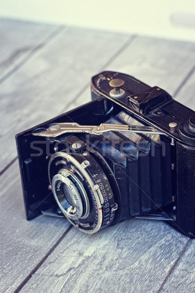 Stock fotó: Antik · fotó · kamera · autentikus · klasszikus · fa · asztal