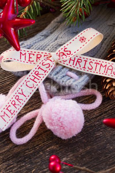 Wesoły christmas łuk wełny skarpetki wiecznie zielony Zdjęcia stock © neirfy