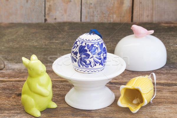Húsvéti tojás húsvét színes tojás nyuszi fa asztal természet Stock fotó © neirfy