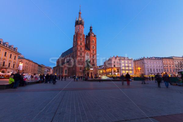 Stock fotó: Piac · tér · Krakkó · Lengyelország · katedrális · templom