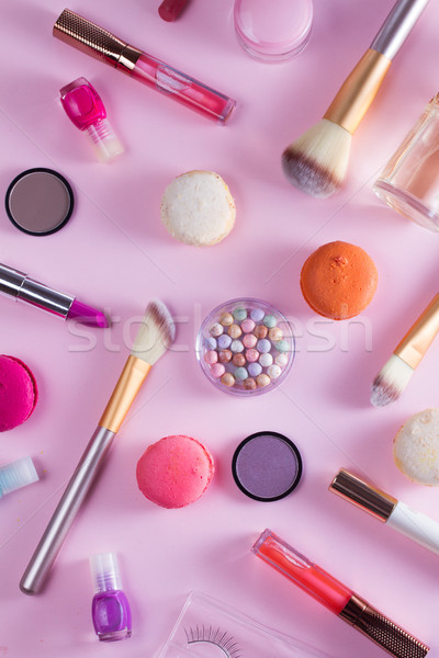 Make-up producten patroon roze vrouw gezicht Stockfoto © neirfy