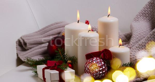 Burning advent candles Stock photo © neirfy