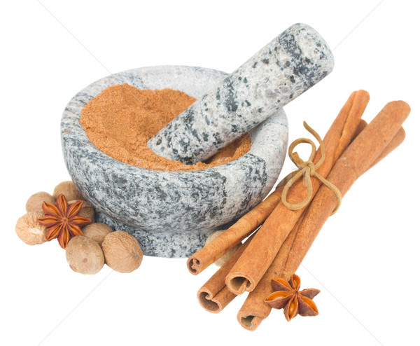 mortar with powdered nutmeg and spices Stock photo © neirfy