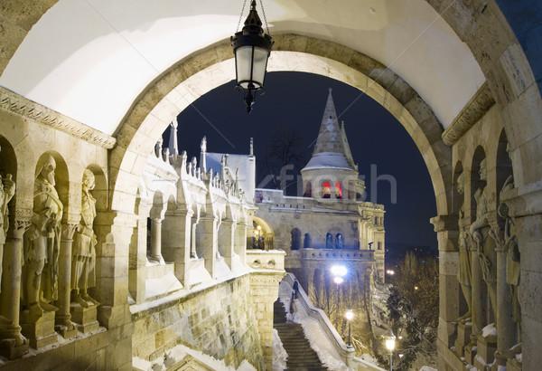 Bastion noc Budapeszt Węgry budynku miasta Zdjęcia stock © neirfy