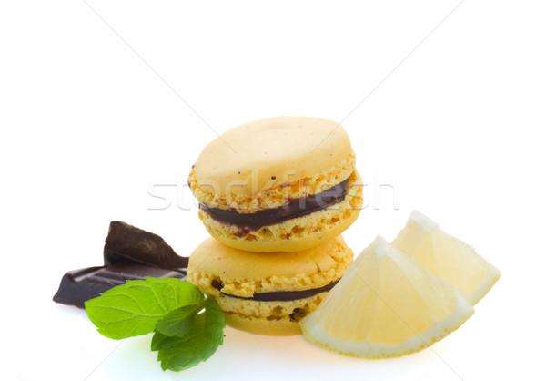 Stok fotoğraf: çikolata · limon · malzemeler · yalıtılmış · beyaz · kek