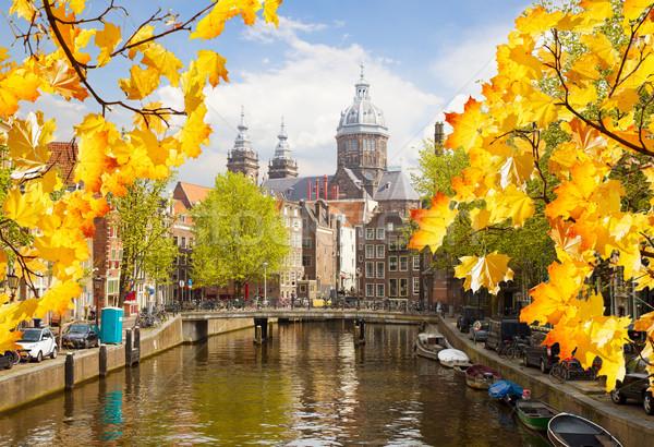 Iglesia barrio antiguo canal Amsterdam caída día Foto stock © neirfy