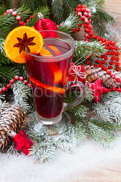 mulled wine with decorated christmas tree Stock photo © neirfy