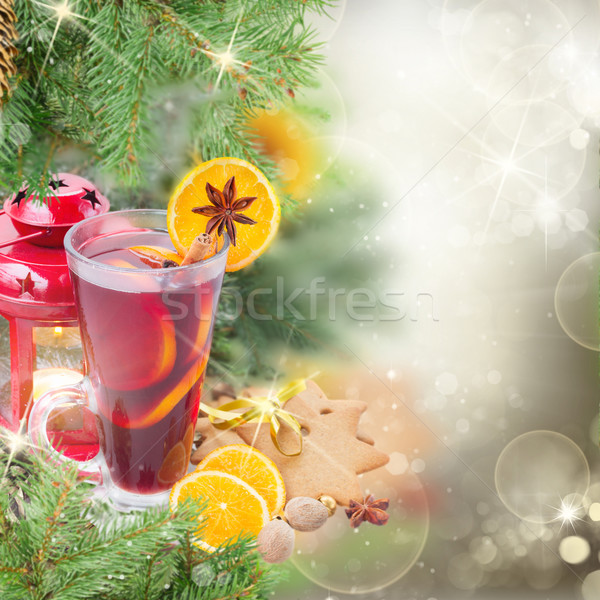 christma mulled wine with fir tree Stock photo © neirfy