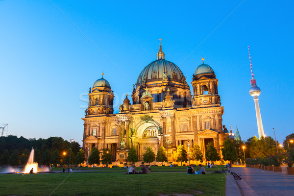 Berlin Cathedral church Berliner Dom and TV tower Fernsehturm Stock photo © neirfy