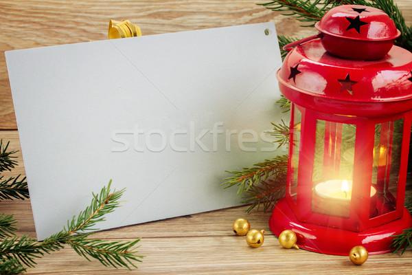 веселый красный фонарь Рождества Сток-фото © neirfy
