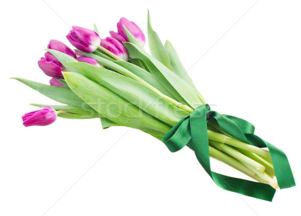 Ramo tulipán flores blanco olla Foto stock © neirfy