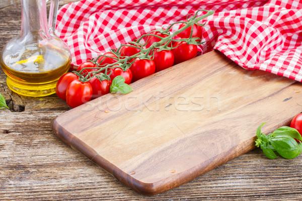 Vacío tabla de cortar cocina italiana alimentos fondo pan Foto stock © neirfy