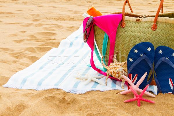 Zonnebaden zandstrand groot stro zak Stockfoto © neirfy