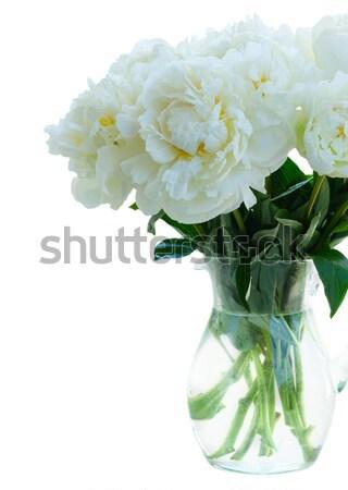 Blanco flores ramo vidrio jarrón Foto stock © neirfy