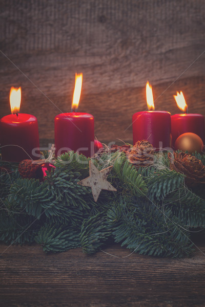 advent wreath with burning candles  Stock photo © neirfy
