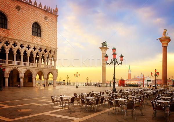 Pałac Wenecja Włochy placu Świt retro Zdjęcia stock © neirfy