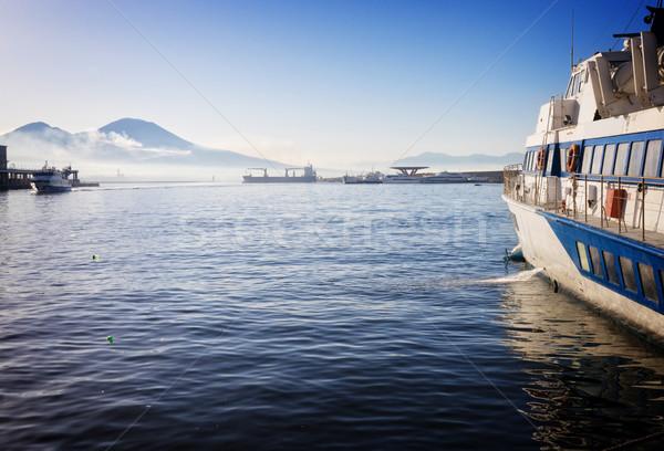 Napoli volkan İtalya Retro manzara Stok fotoğraf © neirfy