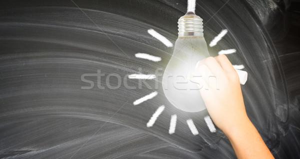 Hand writting on black board Stock photo © neirfy