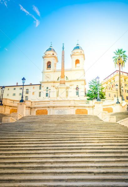 Spaans stappen Rome Italië beroemd basiliek Stockfoto © neirfy